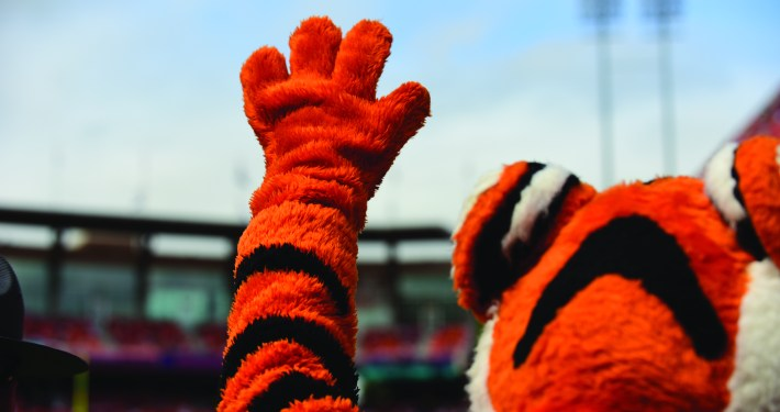 The Tiger, waving