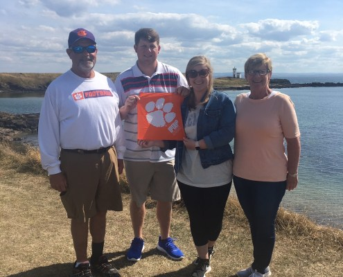 Scotland: Erica Harper '13, M '16 and Lucas Harper '17 with Lucas' parents, Eric and Lyn Harper, in Leven, Fife, a seaside town in Scotland.