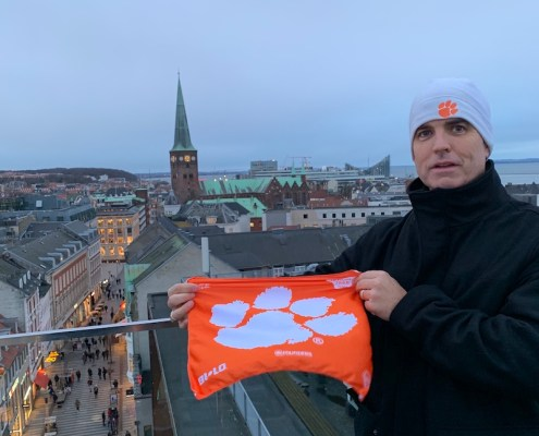 Denmark: Mark McKinney '95 in Aarhus at dusk, there for a LEGO company meeting.