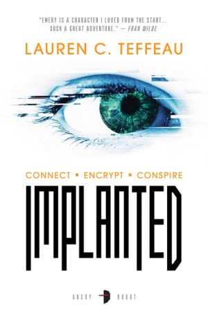 Lauren C. Teffeau '03: Implanted (Angry Robot) is a science fiction thriller that follows a college student who's been blackmailed to use her rare condition, which allows her to carry encoded data in her blood, to carry secrets all over the troubled city of New Worth.
