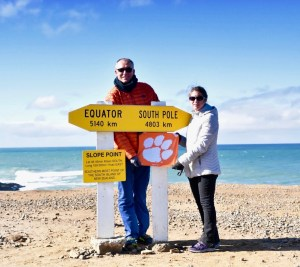 New Zealand: Jason Stone '00 and Carolyn Emmons '00 visited Slope Point, the southernmost point of New Zealand's South Island.