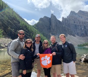 Canada: Kyle '14, Jacqueline Fontana '13, Keith '83, Gina Berger '84, Blake '12 and Luke '21 Summer visited Lake Agnes in Banff National Park during a family vacation in August 2019.