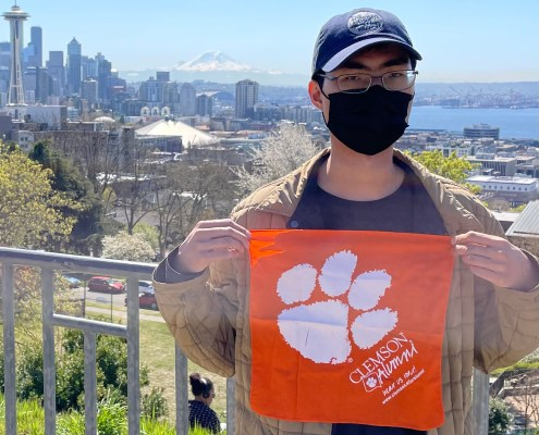 Washington: Steven Tran '15 visited downtown Seattle, posing for a picture with his Tiger Rag in Kerry Park.