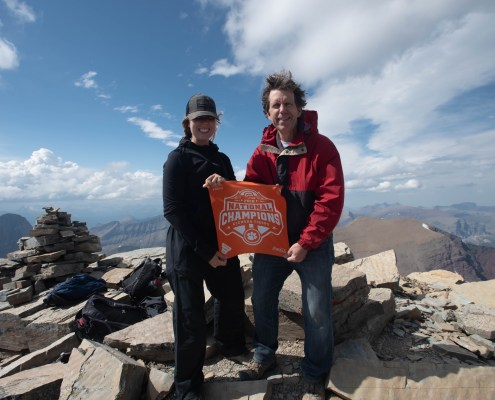 Montana: Ed Weaver '84 and his daughter Natalie Weaver '21 celebrated at the summit of Mount Siyeh (10,006 feet) in Glacier National Park, Montana, on August 6, 2020.