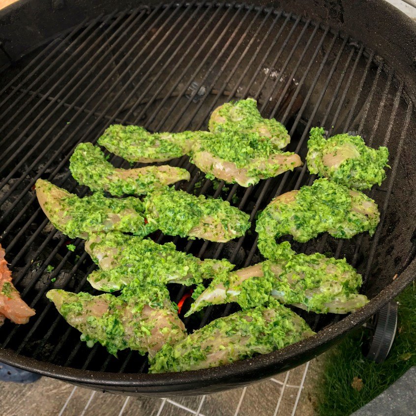 Chimichurri chicken grilling