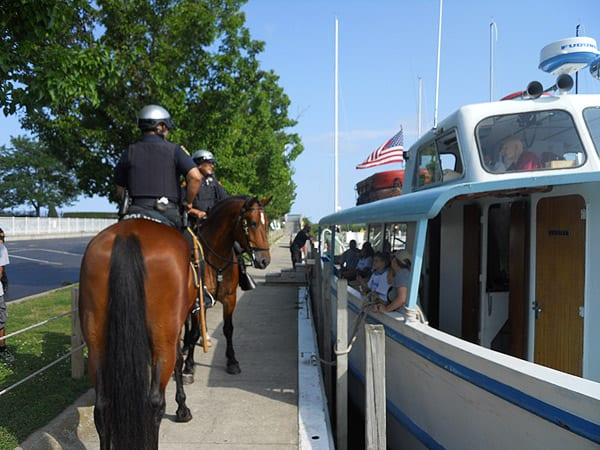 Mounted Unit officers arrive and wish the kids good luck.