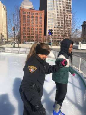 Cleveland Police officers from Community Relations and the 3rd District took some awesome kids from Wade Park Elementary to skating at Public Square.