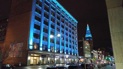 Terminal Tower with Teal Lights