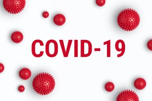 COVID-19 on white background with red dots