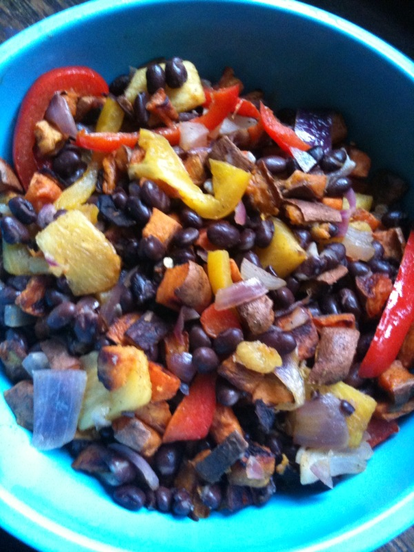 Roasted sweet potatoes, pineapple, peppers and onions with black beans
