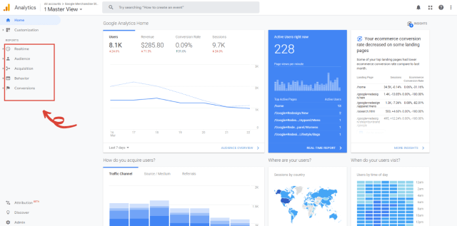 Google Analytics for beginners home tab