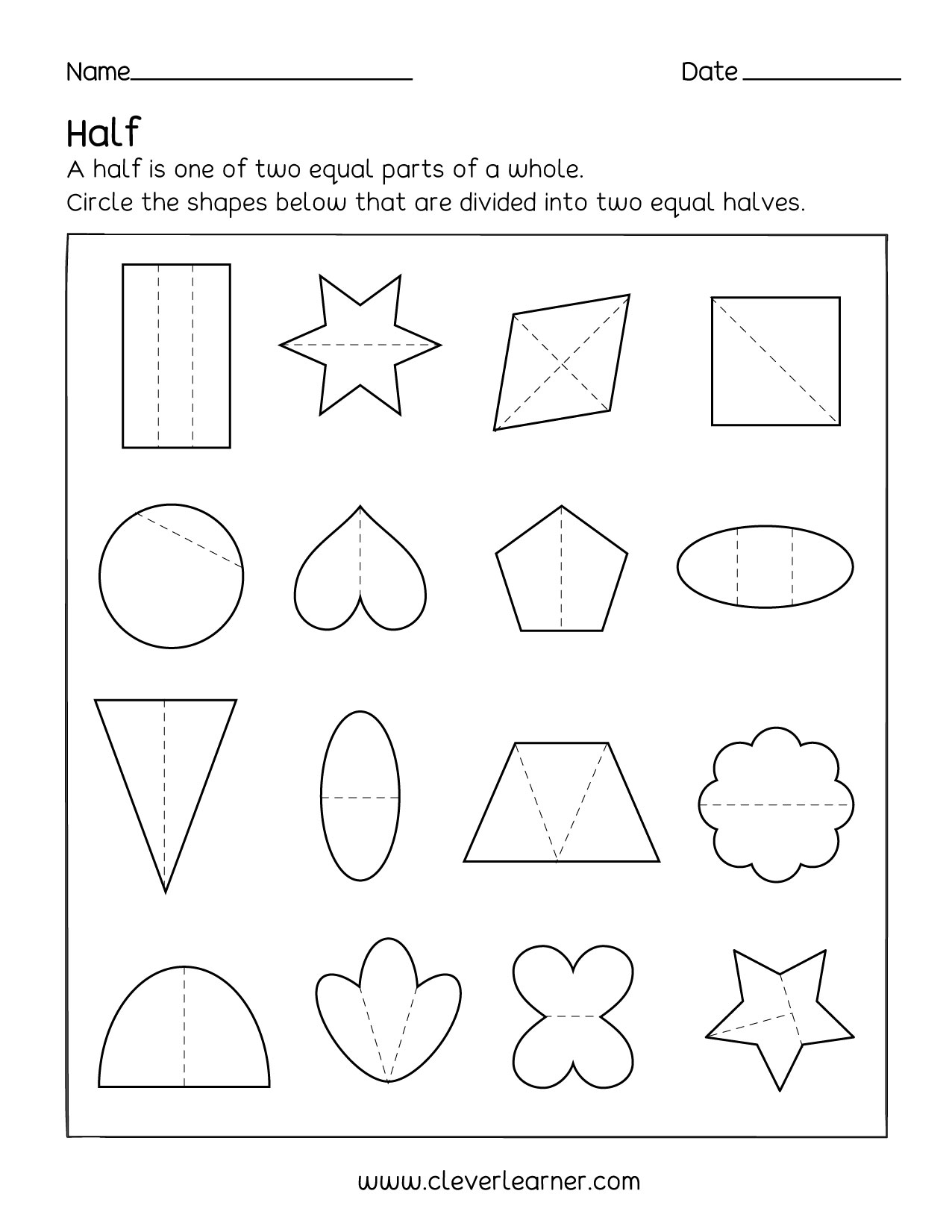 Printables Of Fraction Worksheets For Pre K