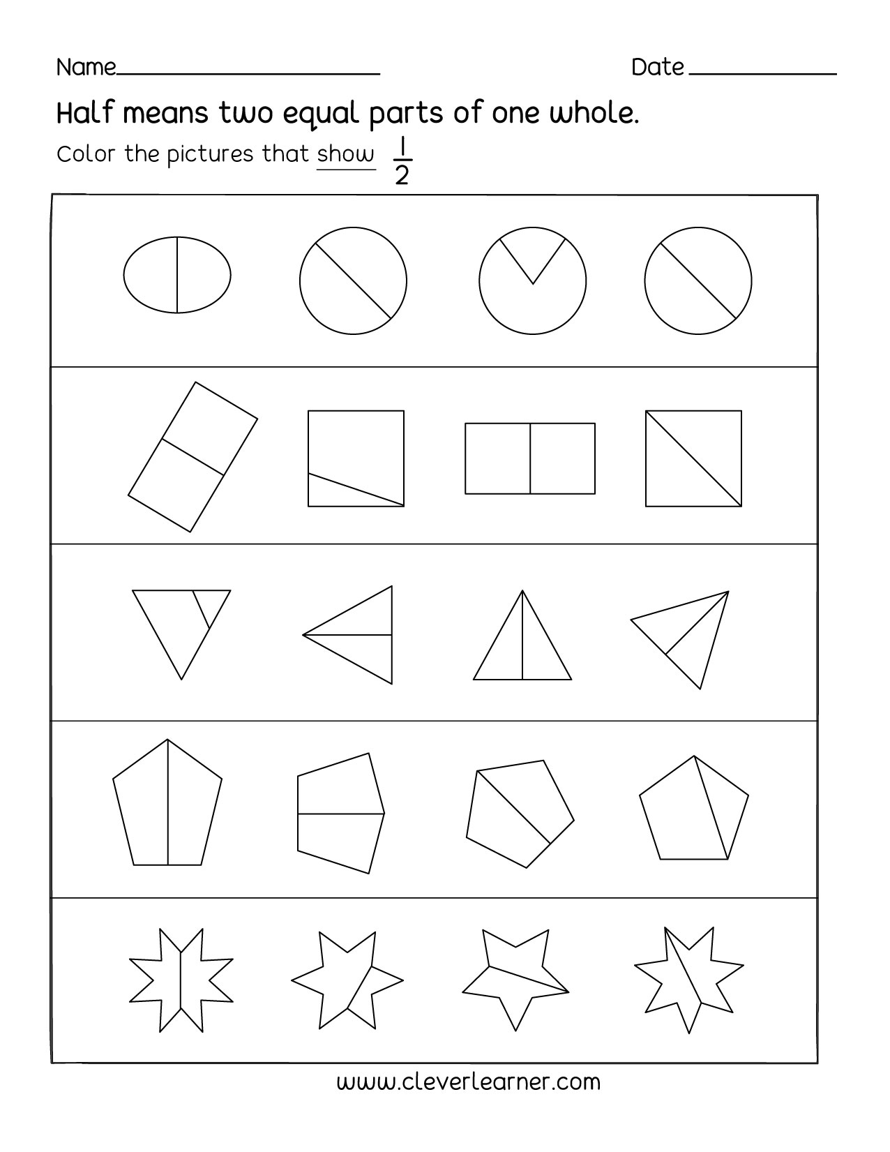 Fun Activity On Fractions Half 1 2 Worksheets For Children