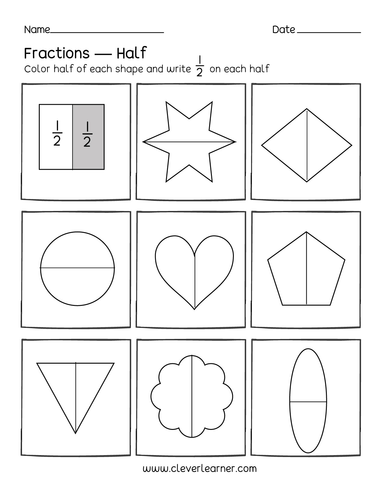 Half Worksheet Year 1