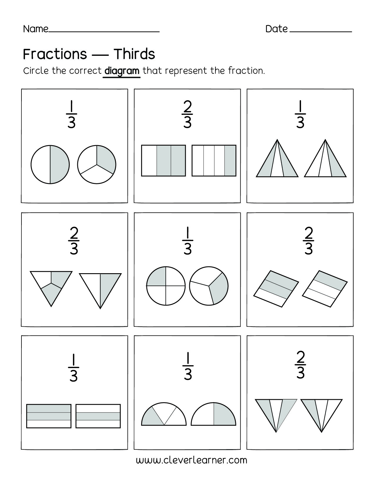 Equal Parts Fraction Worksheets