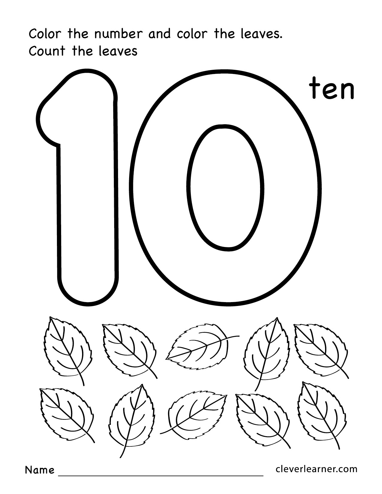 The Number 10 Colouring Pages Page 2 Sketch Coloring Page