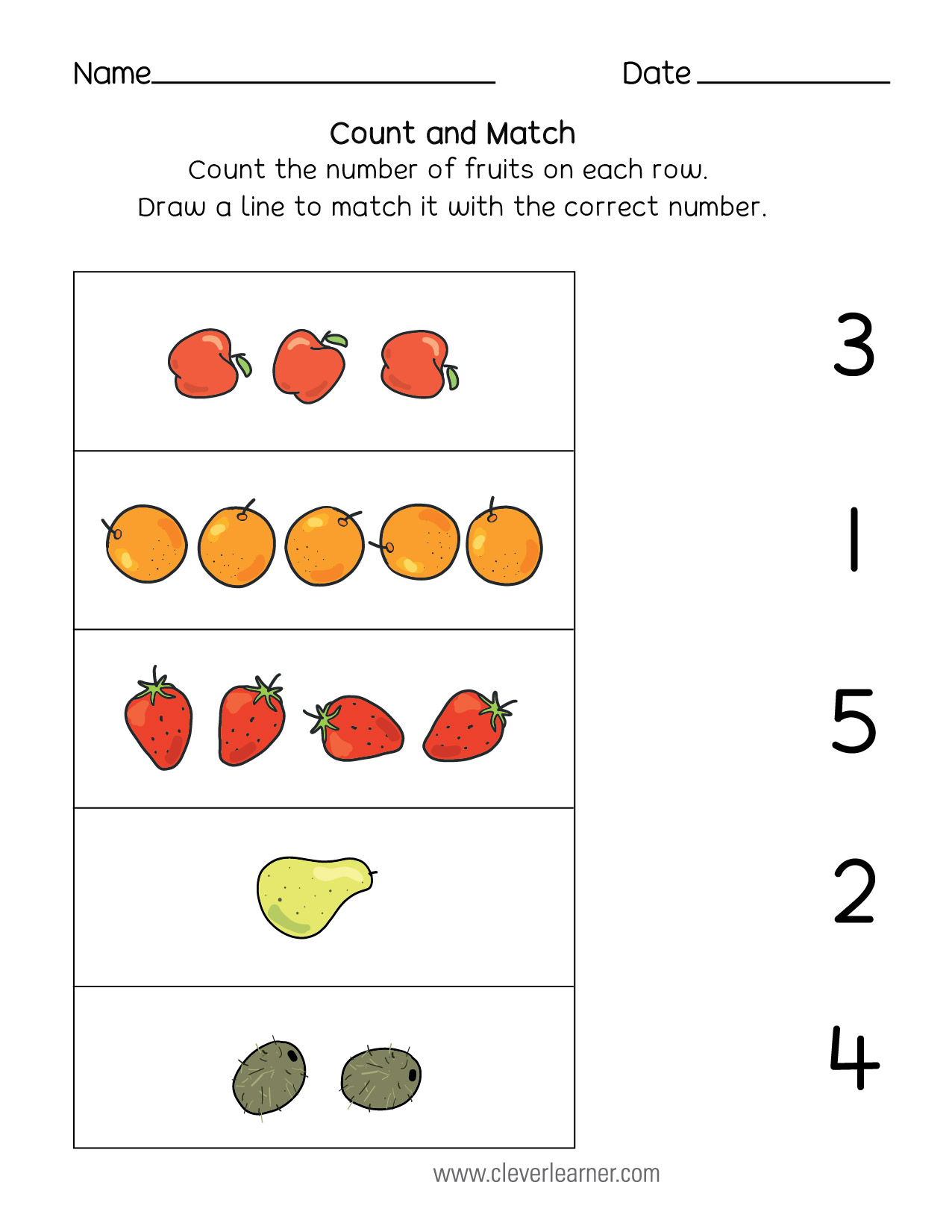 Sun Counting Worksheet