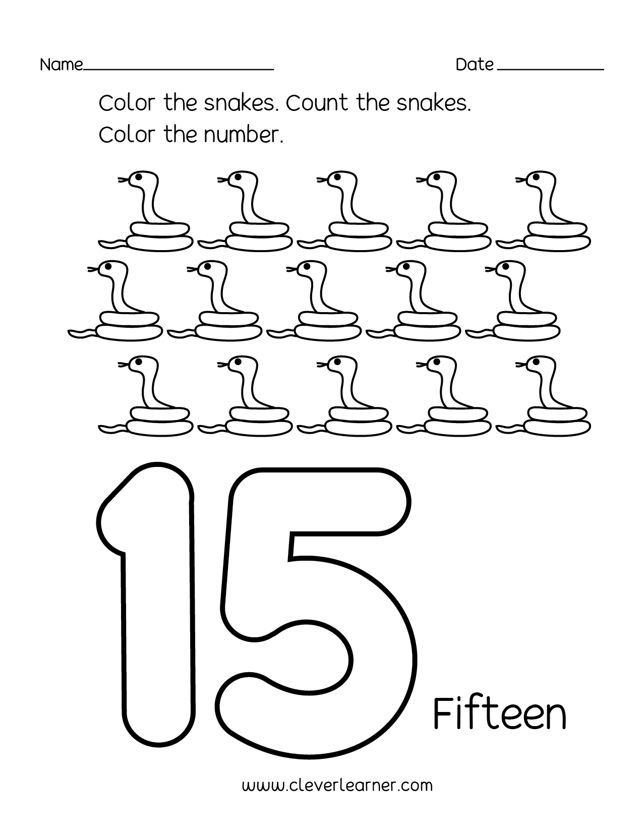 Preschool Worksheet Counting 15