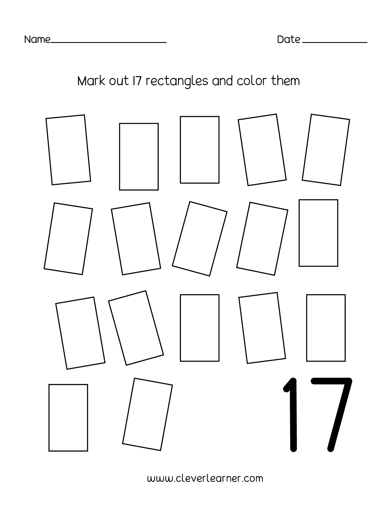 Number 17 Writing Counting And Identification Printable Worksheets For Children