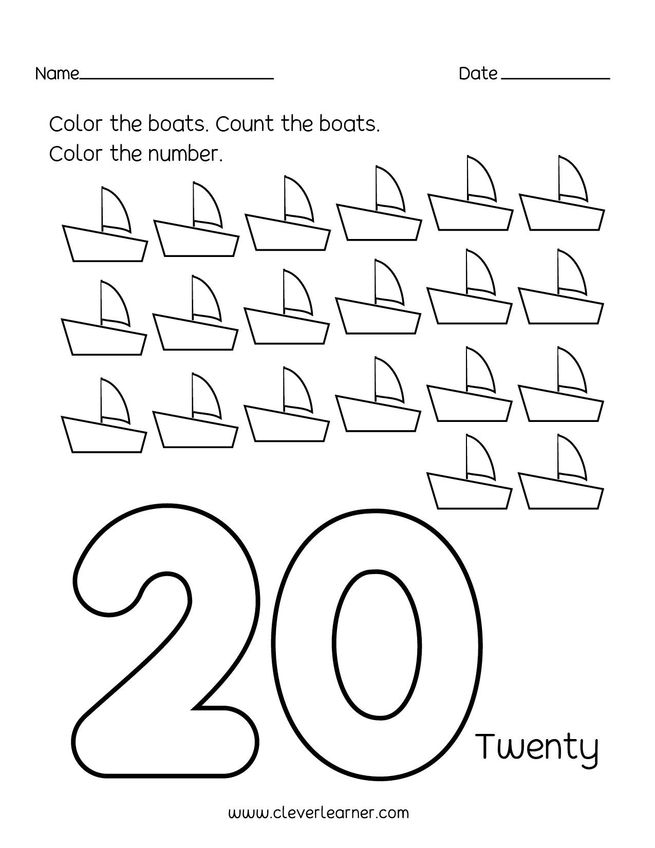 Number Recognition To 20 Worksheet