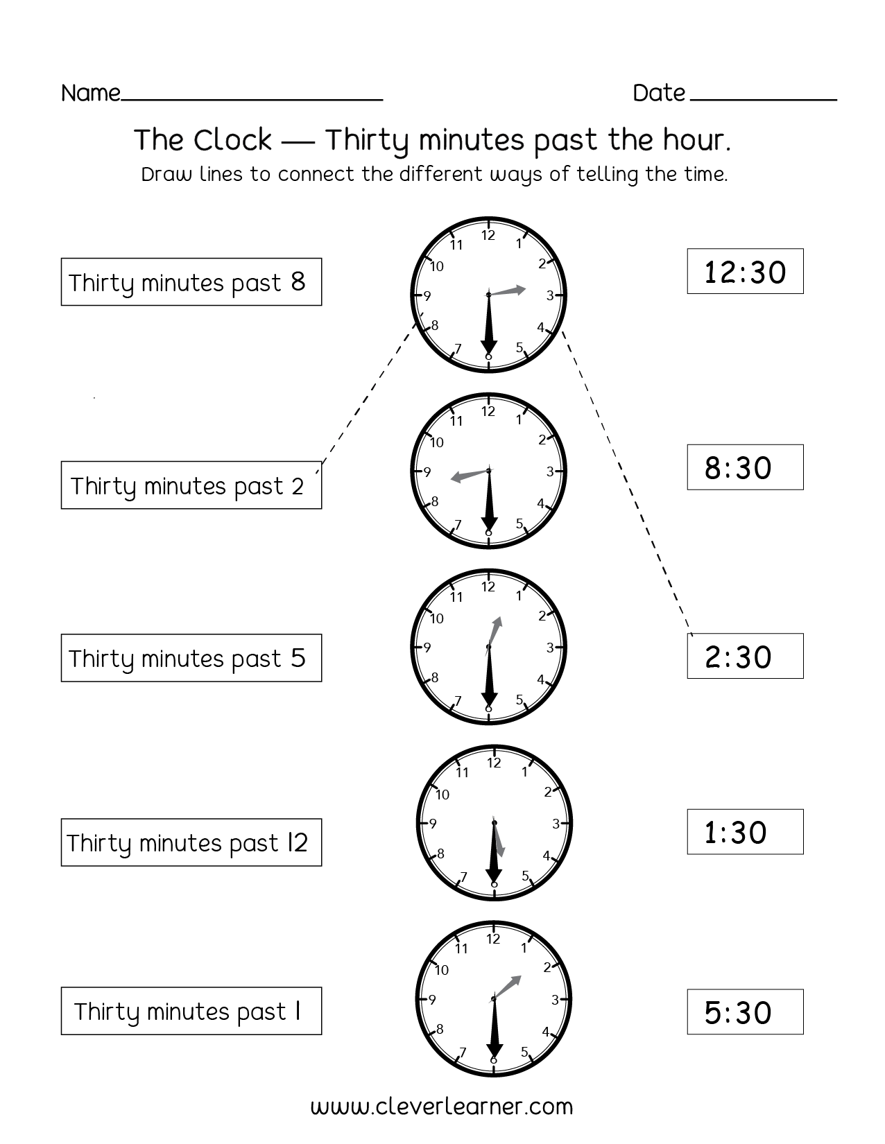 Printables Of Time To Hour And Half Hour Worksheets