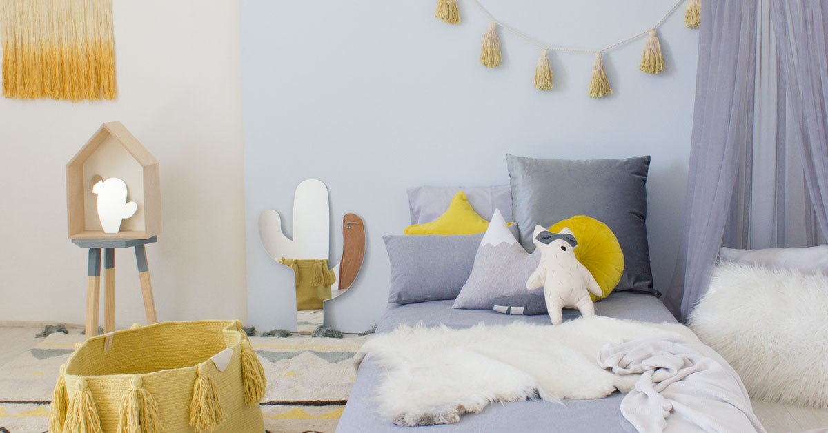 Adventure grey & yellow bedroom
