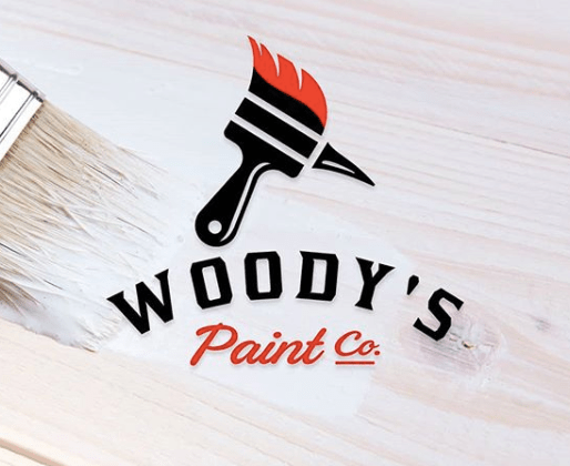 Clever logo of wood paint brush combined with woodpecker