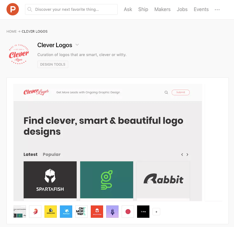 Clever logos on product hunt