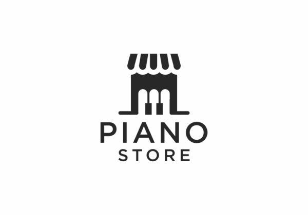 Piano keys as the store front doors. Logo by Buqancreative