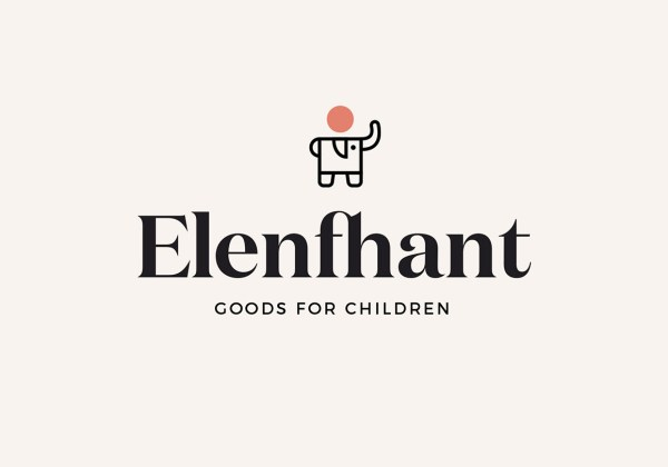 A kid or child or infant figure combine with elephant to make elenfhant logo