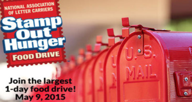 May 9 2015 Is STAMP OUT HUNGER DAY. Leave a donation in your mailbox.