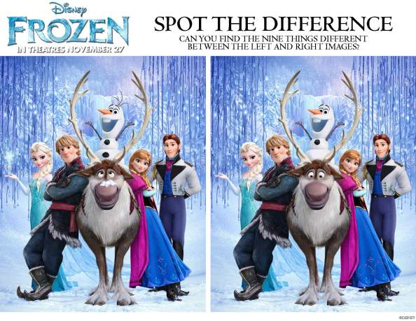 Disney's Frozen Can you Spot the Difference Coloring Page