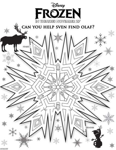 Disney's Frozen Activity Page (Help Sven Find Olaf)