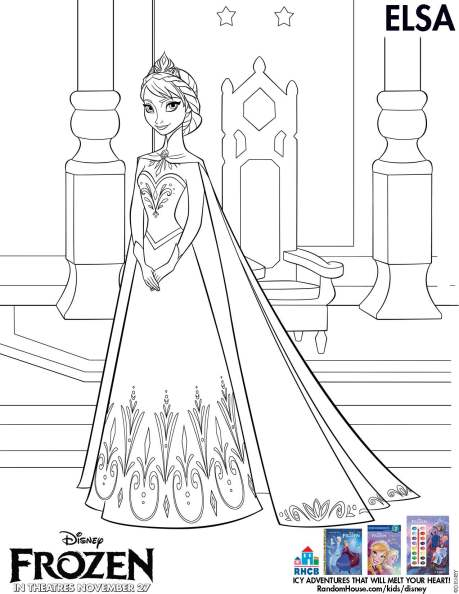 Movie: Disney Frozen activity page available for Download (Elsa coloring page)