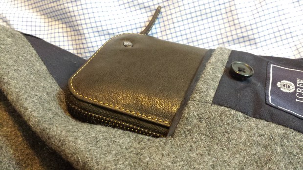 Bellroy - Take Out Wallet in Brown Java Leather in suit jacket