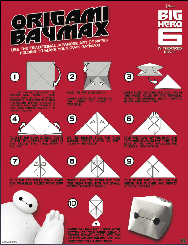 Free download of Big Hero 6 Origami BayMax #origami #kids