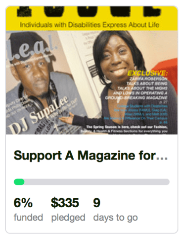 I.D.E.A.L Magazine kickstarter for young people who are living with disabilities