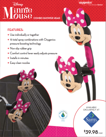 "Oxygenics Disney ""Minnie Mouse"" Shower Head #kids #gifts #review via @CleverlyChangin"