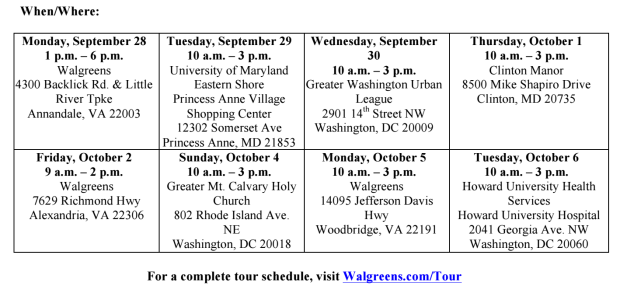 Walgreens National Health Tour #DMV #DC #Maryland #health