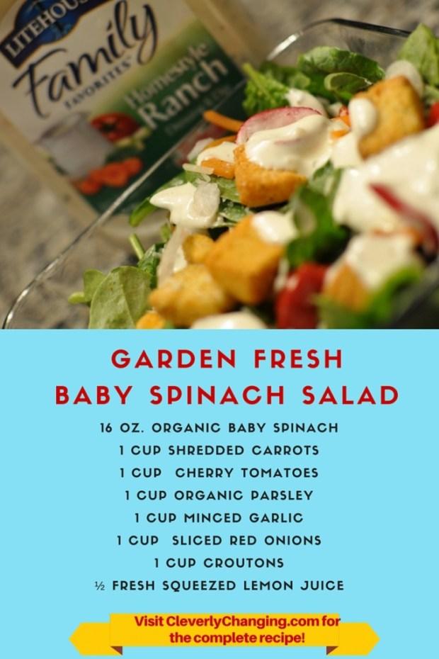 Garden Fresh Baby Spinach Salad #recipe