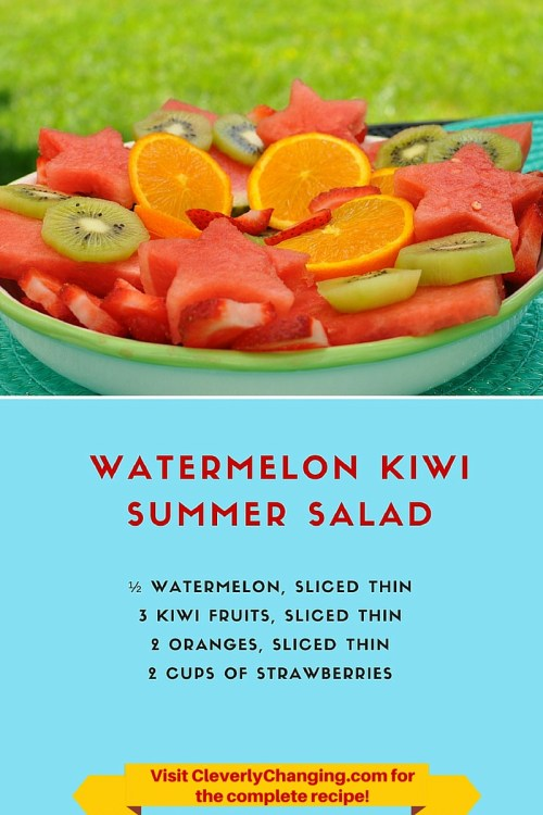 Watermelon Kiwi Summer Salad #vegetarian #vegan