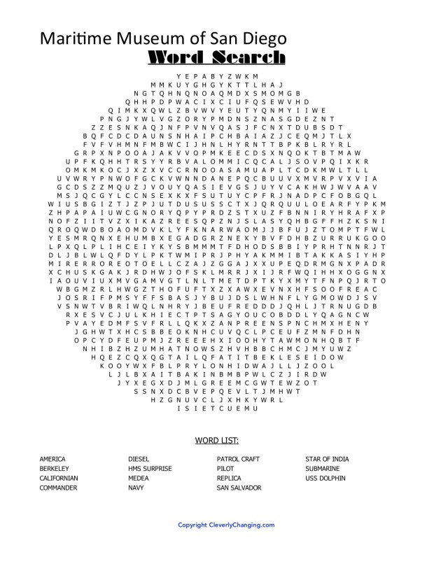 Maritime Museum Word Search