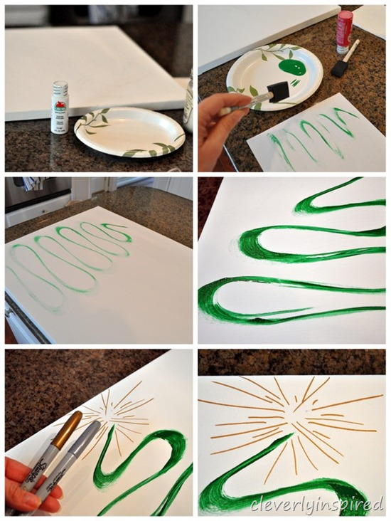 easy diy christmas tree canvas art @cleverlyinspired (1)