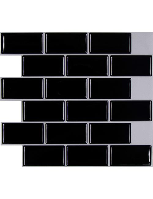 black subway tile backsplash cm80139 6pcs pack