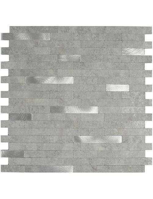 peel stick grey stone backsplash tile with brushed steel 5pcs per pack