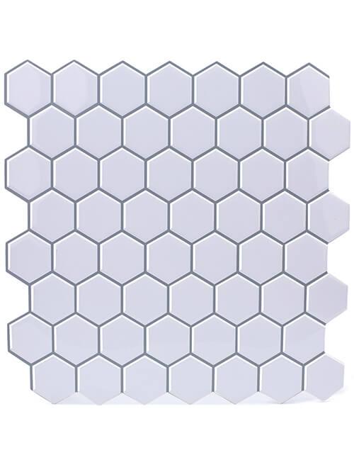 white hexagon vinyl tile peel and stick thicker design cm81303 6pcs pack