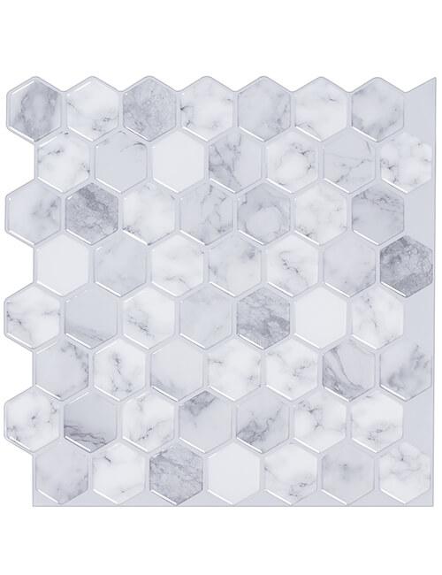 carrara marble hexagon tile peel stick design cm80516 6pcs pack