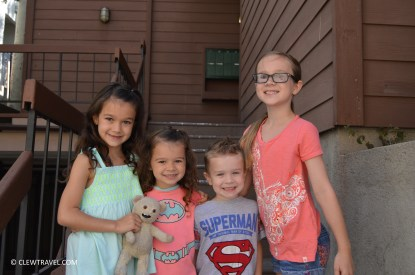 The kids in front of the town home
