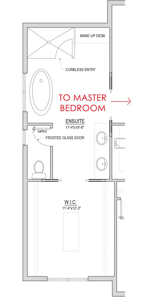 blueprint layout of a master bathroom connected with closet