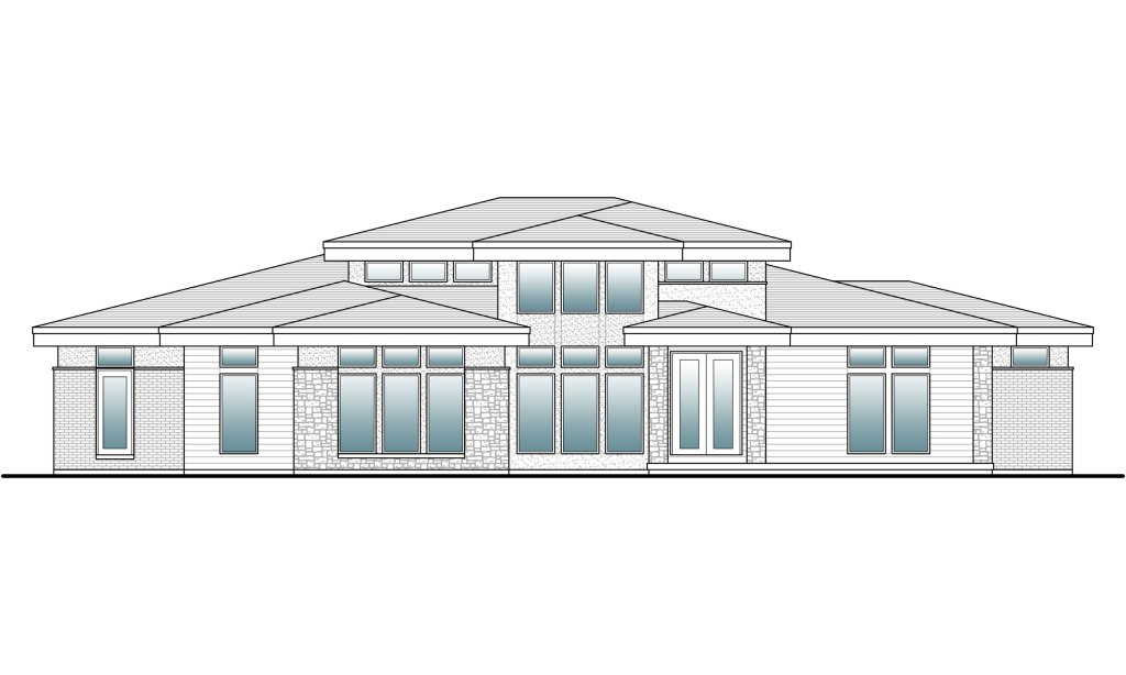 drafted elevation of a contemporary home